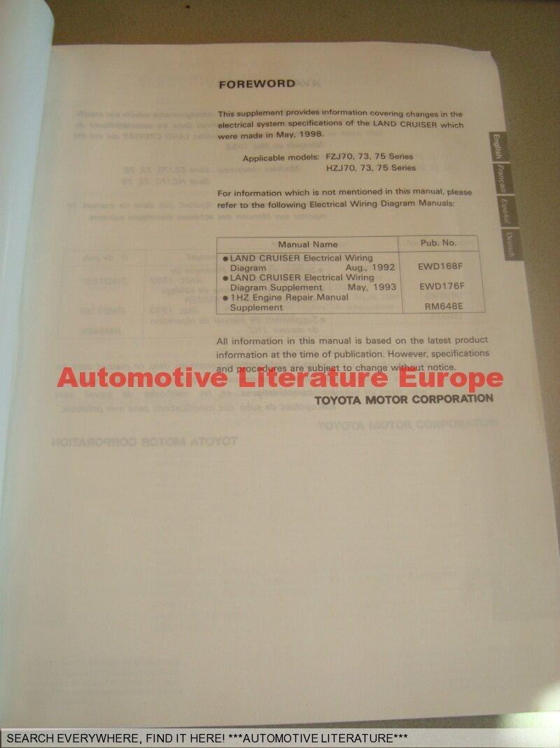 1998 Toyota Land Cruiser Fzj7 Serie Electrical Wiring Diagram 1993 Engine Zahlungsbedingungen Payment