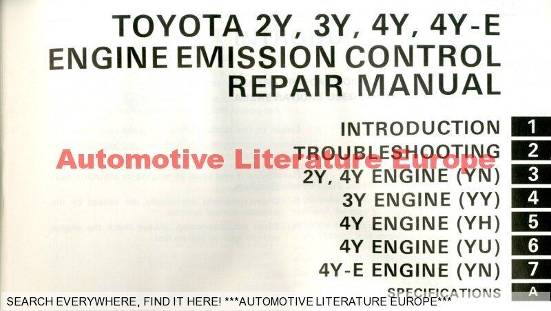 1986 toyota 2y 3y 4y e motor engine repair manual for emission rh ebay co uk toyota 3y engine repair manual toyota 4y engine manual